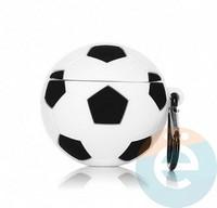 Чехол силиконовый объемный на Apple AirPods 1/2 футбольный мяч