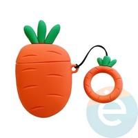Чехол силиконовый объемный на Apple AirPods 1/2 морковка