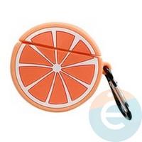 Чехол силиконовый объемный на Apple AirPods 1/2 грейпфрут