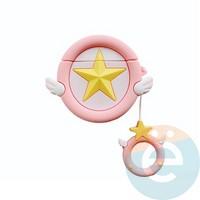 Чехол силиконовый объемный на Apple AirPods 1/2 звездочка розовая