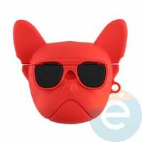 Чехол силиконовый объемный на Apple AirPods 1/2 мопс красный