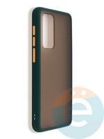 Накладка пластиковая матовая с силиконовой окантовкой для Huawei P40 зеленая