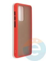 Накладка пластиковая матовая с силиконовой окантовкой для Huawei P40 красная