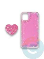 Накладка силиконовая с Поп Сокетом для Apple Iphone 11 розовая