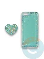 Накладка силиконовая с Поп Сокетом для Apple Iphone 5/5S/SE бирюзовая