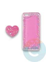 Накладка силиконовая с Поп Сокетом для Apple Iphone 6/6S розовая