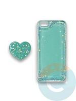 Накладка силиконовая с Поп Сокетом для Apple Iphone 6/6S бирюзовая