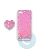 Накладка силиконовая с Поп Сокетом для Apple Iphone 7/8/SE2 розовая