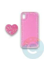 Накладка силиконовая с Поп Сокетом для Apple Iphone Xr розовая