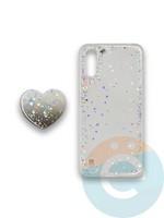 Накладка силиконовая с Поп Сокетом для Samsung A01 белая