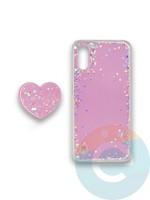 Накладка силиконовая с Поп Сокетом для Samsung A01 розовая