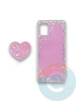 Накладка силиконовая с Поп Сокетом для Samsung A71 розовая