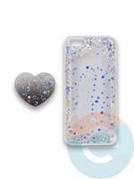 Накладка силиконовая с Поп Сокетом для Apple Iphone 5/5S/SE белая