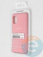 Накладка Silicone cover на Samsung Galaxy A41 розовая