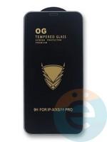 Защитное стекло OG с полной проклейкой на Apple iPhone X/Xs/11 Pro в упаковке чёрное