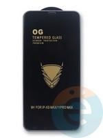 Защитное стекло OG с полной проклейкой на Apple iPhone Xs Max/11 Pro Max в упаковке чёрное