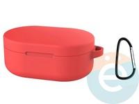 Чехол силиконовый с карабином для AirDots красный