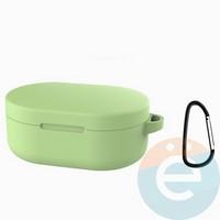 Чехол силиконовый с карабином для AirDots салатовый
