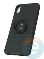 Накладка силиконовая iFace на Apple IPhone Xs Max с металлической пластиной с кольцом