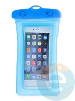Водонепроницаемый чехол для смартфона цветной со шнурком голубой