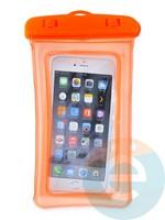 Водонепроницаемый чехол для смартфона цветной со шнурком оранжевый