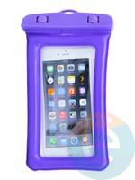 Водонепроницаемый чехол для смартфона цветной со шнурком фиолетовый