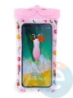 Водонепроницаемый чехол Kids для смартфона с поплавком и шнурком коктейль розовый