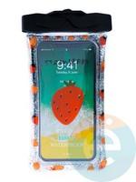 Водонепроницаемый чехол Kids для смартфона с поплавком и шнурком клубничка