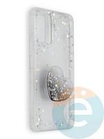 Накладка силиконовая с Поп Сокетом для Huawei Honor 30 белая