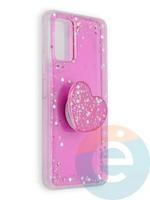 Накладка силиконовая с Поп Сокетом для Huawei Honor 30 розовая