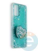 Накладка силиконовая с Поп Сокетом для Huawei Honor 30S бирюзовая