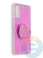 Накладка силиконовая с Поп Сокетом для Huawei Honor 30S розовая