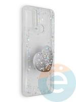 Накладка силиконовая с Поп Сокетом для Huawei Honor 9A белая