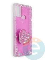 Накладка силиконовая с Поп Сокетом для Huawei Honor 9A розовая