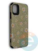 Накладка силиконовая с ромашками для Apple iPhone 11 золотистая