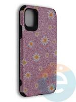 Накладка силиконовая с ромашками для Apple iPhone 11 розовая