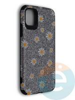 Накладка силиконовая с ромашками для Apple iPhone 11 серебристая