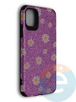 Накладка силиконовая с ромашками для Apple iPhone 11 фиолетовая