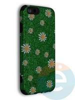 Накладка силиконовая с ромашками для Apple iPhone 6/6S зеленая