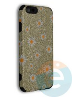 Накладка силиконовая с ромашками для Apple iPhone 6/6S золотистая