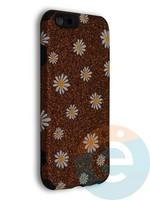 Накладка силиконовая с ромашками для Apple iPhone 6/6S коричневая