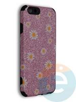 Накладка силиконовая с ромашками для Apple iPhone 6/6S розовая