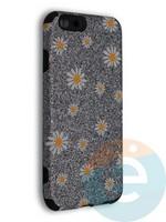 Накладка силиконовая с ромашками для Apple iPhone 6/6S серебристая