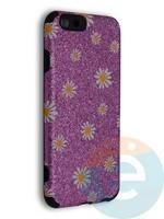 Накладка силиконовая с ромашками для Apple iPhone 6/6S фиолетовая
