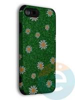 Накладка силиконовая с ромашками для Apple iPhone 7/8/SE2 зеленая