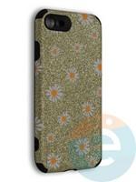 Накладка силиконовая с ромашками для Apple iPhone 7/8/SE2 золотистая