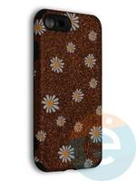 Накладка силиконовая с ромашками для Apple iPhone 7/8/SE2 коричневая