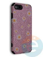 Накладка силиконовая с ромашками для Apple iPhone 7/8/SE2 розовая