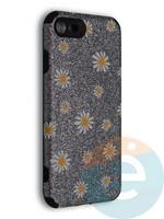 Накладка силиконовая с ромашками для Apple iPhone 7/8/SE2 серебристая