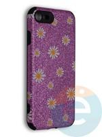 Накладка силиконовая с ромашками для Apple iPhone 7/8/SE2 фиолетовая